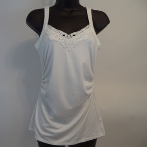 WHBM Women's White Tank Top XS CL0257 0119